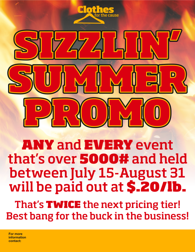 Sizzlin Summer Promo - Clothes for the Cause